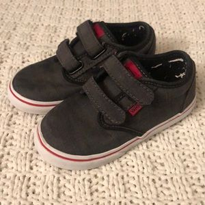 Boys gray and red Velcro vans